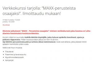MAXXin osaajaksi tarjoushintaan